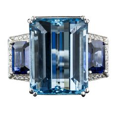 Fine Aquamarine Sapphire Diamond Gold Ring | From a unique collection of vintage cocktail rings at https://www.1stdibs.com/jewelry/rings/cocktail-rings/