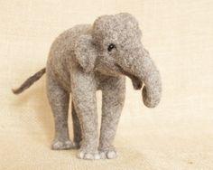Penelope the Elephant needle felted animal von TheWoolenWagon, $180.00