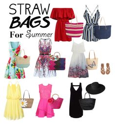 """""""Straw bags for Summer"""" by mommastephud ❤ liked on Polyvore featuring Target, Glamorous, Trina Turk, Ted Baker, Vero Moda, Style & Co., Sensi Studio, Sweet Romance, WithChic and Kate Spade"""
