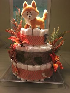 How to Make Baby Diaper Cake Baby Girl Shower Themes, Baby Shower Parties, Baby Boy Shower, Baby Shower Gifts, Diaper Cake Boy, Cake Baby, Diaper Cakes, Woodland Forest, Woodland Baby