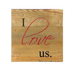 I Love Us (with Red Heart) - Reclaimed Wood Art Sign - 6-in x 6-in