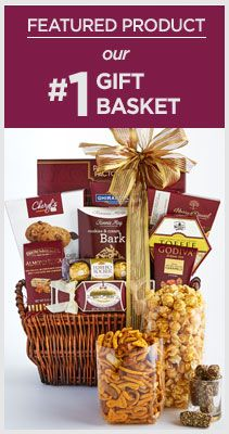 Our #1 Gift Basket - Send a friend this graceful, sumptuous gift basket made of fine, hand-woven natural willow. It's brimming with an abundance of savories and sweets like rich and crisp Fannie May® Cookies & Cream Bark, crunchy Brown & Haley® Almond Roca® Buttercrunch Toffee, decadent Godiva® Caramel Chocolates, lush Ferrero Rocher® Chocolates, velvety Ghirardelli® Double Chocolate Cocoa, zesty Harry & David® Super Party Snack Mix and much more!