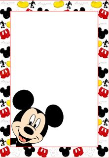 Mickey: Free Printable Frames, Invitations or Cards.