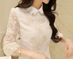 Corea del resorte más el tamaño elegante bordado blanco del cordón Blusas 7 delgado de la manga de la gasa mujeres de la camisa de la gasa de la blusa Imprimir Nuevo 2014