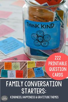 Family Dinner Conversation Starter 3 Pack: Kindness, Happiness and Gratitude - Instant Conversation Questions, Conversation Starters, Educational Games For Kids, Indoor Activities For Kids, Meaningful Conversations, Printable Cards, Teaching Tools, Critical Thinking, Stress Relief