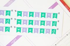 6 April/Purple and Teal Weekend Banner Stickers - Perfect For Planners & Scrapbooking