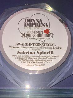 Premio ADWARD International per manager e donna di successo nel Business. #sabrinaspinelli #wellnessforyou