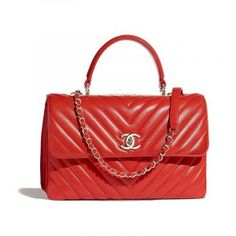 d4c8558e582855 Flap Bag with Top Handle - Red - Lambskin & Gold-Tone Metal - Default view  - see full sized version