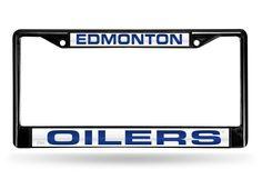 Edmonton Oilers Black Laser-Etched Chrome License Plate Frame