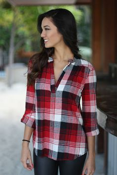 Red Plaid Collarless V-neck Long Sleeve Cotton Blend Blouse Trendy Online Boutiques, Halter Tops, Madame, Mandarin Collar, Red Plaid, Cute Tops, Blouses For Women, Red Blouses, Trendy Fashion