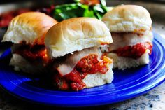 Meatball subs - these were so good! I used regular breadcrumbs, Classico Spicy Basil Sauce, and brat buns.