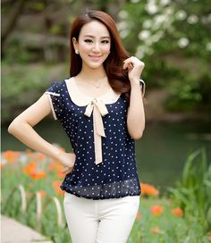 Cheap dot women, Buy Quality polka dot women directly from China women blouses Suppliers: Chiffon Shirt Women Blouse Blusas 2017 Summer Women Blouses Shirt Sweet Female Doll Collar Short Sleeve Polka Dot Women Tops Polka Dot T Shirts, Polka Dot Blouse, Polka Dots, Plus Size Blouses, Plus Size Tops, Chiffon Shirt, Chiffon Tops, Vestido Casual, Fashion Night
