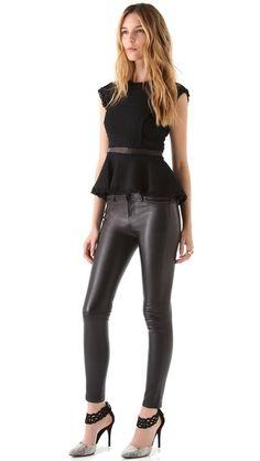 Rebecca Taylor Tweed Peplum Top & leather pants