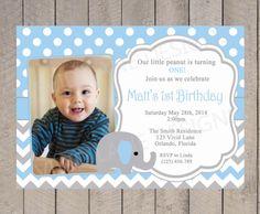 Elephant Boy First Birthday Invitation Boy by VividLaneDesigns