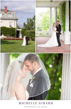 Estate Gardens and Vine Covered Columned Porch :: Bride and Groom :: Portraits of the Newly Weds Under the Veil :: Wedding Ceremony at Wistariahurst Museum in Holyoke, Massachusetts :: Wedding Reception at Oak Ridge Golf Club in Feeding Hills, Massachusetts :: Michelle Girard Photography and Design