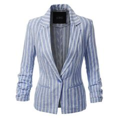 LE3NO Womens Striped Single Button Linen Blazer Jacket ❤ liked on Polyvore featuring outerwear, jackets, blazers, blazer jacket, blue blazer jacket, blue linen blazer, linen jackets and one-button blazers