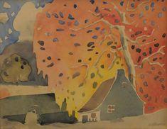 Arbre d'automne (c. 1925) - Marc-Aurèle Fortin Canadian Painters, Canadian Artists, Famous Artwork, Orange Art, National Art, Museum Of Fine Arts, Art Studies, Watercolor Landscape, Fine Art