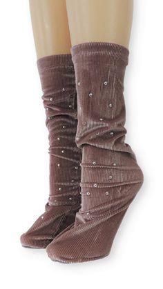Ribbed Tea Pink Velvet Socks with Beads Velvet Socks, Pink Velvet, Crew Socks, Comfy, Tea, Boots, Spandex, Modern, Unique