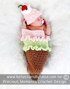 ICE CREAM CONE Cocoon and Beanie Hat Set Crochet Newborn Baby Photo Prop