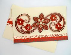 Ayani art: Quilling Red and Cream Card