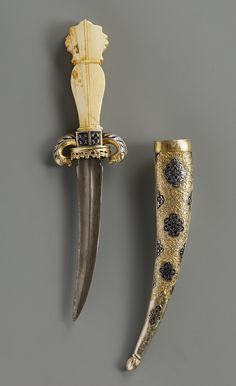 Ceremonial dagger. Date: ca. 1540. Place of production: Transylvania (presumably) Turkey (Ottoman Empire) (presumably). Materials: steel; silver-gilt; ivory. Techniques: enammelled decoration. | Museum of Applied Arts, Budapest, ˆ 2015ˆˆ
