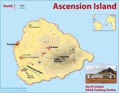 ASCENSION ISLAND map Saint Helena Island, St Helena, Island Map, Island Tour, Us Air Force Bases, Ascension Island, Falklands War, Desert Island, Atlantic Ocean