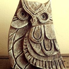 Owl Sculpture - Carved Stone Sculpture. Stone ornament. Owl Statue, Owl Sculpture, Woodland art, Stone Carving, Rustic, Nature