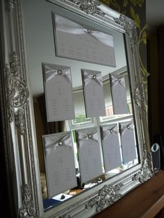 Silver Glitter & White Seating Plan on a mirror