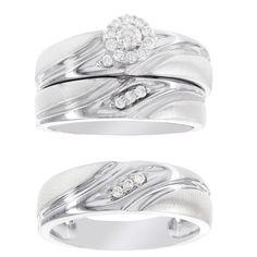 H Star Platina 4 Diamond 1/4ct Men's and Women's Engagement Trio Bridal Set (I-J, I2-I3) (Women's Size 9, Men's Size 9), White (satin)