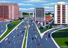 "Agostinho Batista de Freitas, Brazil, ""Twenty Third of May Avenue"", 1984, Oil on canvas, 50X70cm"