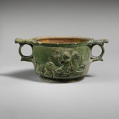 Terracotta scyphus (drinking cup)  Period: Early Imperial, Julio-Claudian Date: 1st half of 1st century A.D. Culture: Roman Medium: Terracotta Dimensions: H. 2 1/2 in. (6.4 cm); width with handles 5 11/16 in. (14.4 cm) Classification: Vases