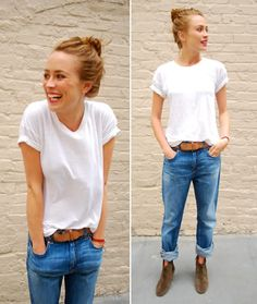 im totally a white t and jeans kind of girl. finish the look of with some isabel marant booties and you are good to go!