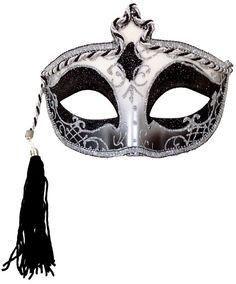 Carnival in Venice Medieval Moon Colombina Style Silver & Black Tassel Eye Mask  #MR #Mask #MrdiGrasCarnivalMasqueradeBall