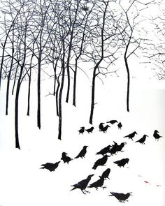 Jim Kay illustration - black and white....snow and Corvids and skeletal trees...Simply Stunning!!
