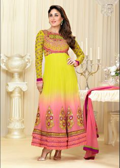 Kareena Kapoor Yellow, Pink Pure Georgette Ankle Length Anarkali Churidar Suit on Sale - US$ 70.43 On Sale - http://ethnic-bargains.blogspot.co.uk/2014/01/price-drop-kareena-kapoor-yellow-pink.html