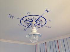 Compass light decor for my son's nautical theme bedroom. Compass light decor for my son's nautical theme bedroom. Nautical Decor Bedroom, Bedroom Themes, Bedroom Decor, Nautical Bedroom, Nautical Theme Bedrooms, Nautical Home Decorating, Coastal Decor, Beach House Decor, Nautical Bathrooms