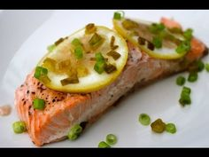 """Lemon Baked Salmon Recipe - YouTube Great tip on the """"white stuff"""" :) I would've over cooked it :/"""