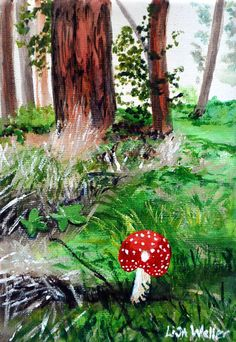 Fairy garden toadstool painting. Original acrylic by HavenHouseArt