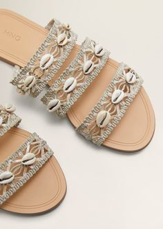 Want a pair of sandals that will stand out from the crowd and make your Insta feed pop? Shop our roundup of statement-making spring sandals. Bling Sandals, Shoes Flats Sandals, Cute Sandals, Strap Sandals, Seashell Braid, Braided Sandals, Leather Sandals Flat, Shoe Art, Crazy Shoes