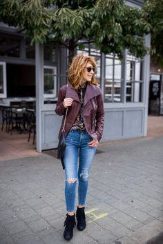 Leather and Fringe and an Amazing Giveaway Coloured Leather Jacket, Macbook Air, Rebel, Canon, Giveaway, Winter Outfits, Mom Jeans, Fall Winter, Hipster