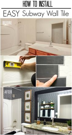 How to cover bathroom or kitchen walls with modern, gray subway tile. An easy make-over using peel and stick Smart Tiles. Stick On Tiles Bathroom, Tub Tile, Kitchen Wall Tiles, Bathroom Floor Tiles, Simple Bathroom, Bathroom Wall, Bathroom Ideas, Tiling, Basement Bathroom