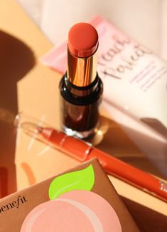 A Mood-Boosting Peachy Makeup Look Peachy Makeup Look, Makeup Looks, Lipstick, Mood, Beauty, Beleza, Make Up Looks, Lipsticks, Rouge