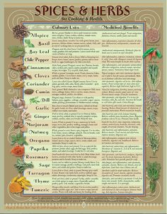 Healthy Spice/Herb chart tells the use and healthy benefits of common herbs & spices. Perfect to hang on the fridge or inside your spice cabinet