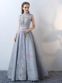 A-Line High Neck Lace Cap Sleeves Lace Flowers Floor-Length Evening Dress A Line Evening Dress, Evening Dresses Online, Evening Gowns, Dress Online, Best Prom Dresses, Homecoming Dresses, Formal Dresses, Wedding Dresses, Ladies Dresses