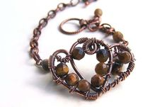 Golden brown tigers eye bracelet copper by CreativityJewellery, $65.00