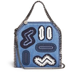 Stella Mccartney 'Falabella' mini embroidery two-way denim chain tote ($1,500) ❤ liked on Polyvore featuring bags, handbags, tote bags, blue, denim tote, mini purse, blue handbags, mini tote handbag and embroidery tote bags
