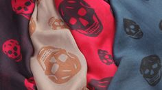 Designer & Luxury Scarves   Alexander McQueen These scull prints are so iconic of Alexander McQueen, I love how they are arranged in different sizes and the shape of the sculls.