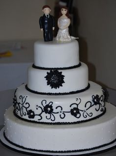 Black ad White Cake with Custom Bride and Groom Topper Special Occasion, Wedding Cakes, Groom, Bride, Desserts, Black, Wedding Gown Cakes, Wedding Bride, Tailgate Desserts