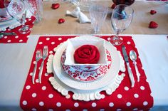Valentine's Day Placesetting with napkin rose (learned this on stonegableblog.com)
