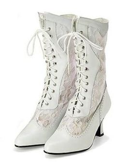 where we these when i got married woulda totally worn them....  Victorian Leather and Lace Wedding Boot